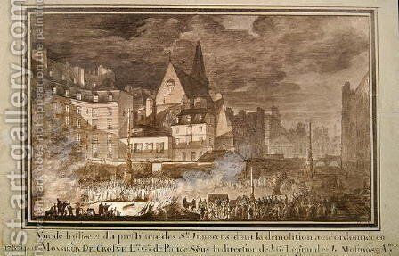 View of the Presbytery and Eglise des Saints-Innocents During Demolition, 1787 by (attr. to) Sobre, Jean Nicolas - Reproduction Oil Painting