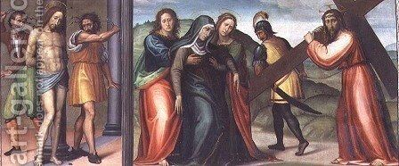 The Flagellation of Christ and The Road to Calvary by Giovanni Antonio Sogliani - Reproduction Oil Painting
