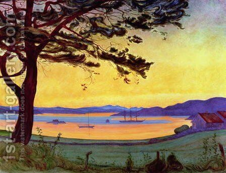 View of Helgeroa by Harald Oscar Sohlberg - Reproduction Oil Painting