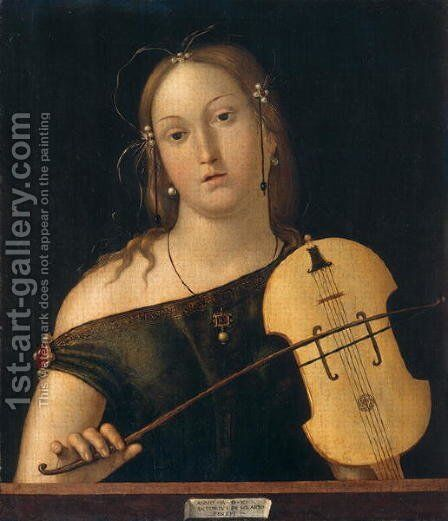Woman playing the viola by Andrea Solario - Reproduction Oil Painting