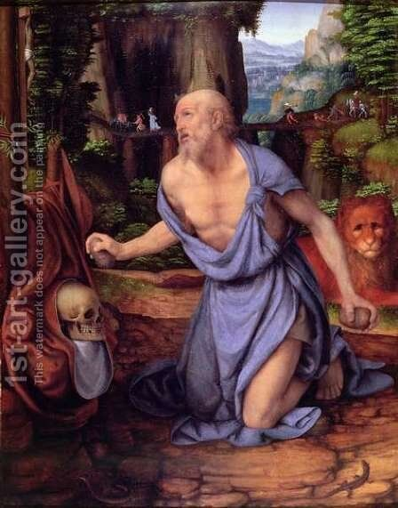 St. Jerome in the Wilderness, c.1510-15 by Andrea Solario - Reproduction Oil Painting