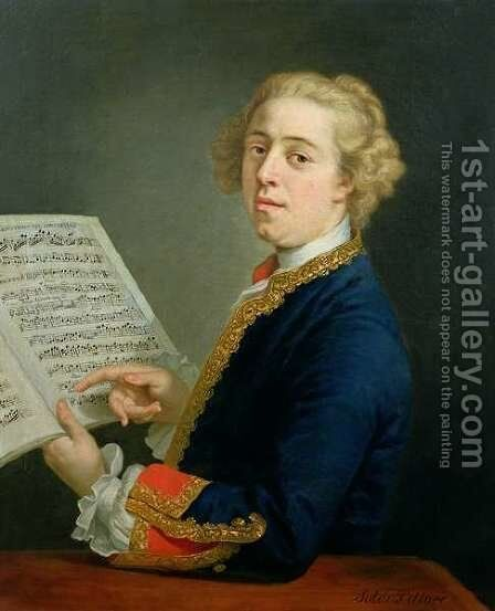 Portrait of Francesco Geminiani 1687-1762, Italian violinist by Andrea Soldi - Reproduction Oil Painting