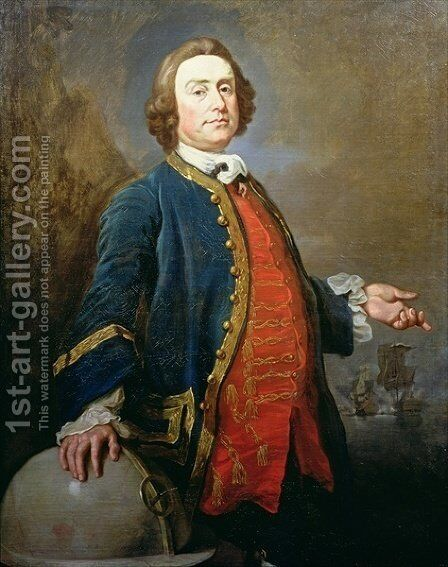 Portrait of Commodore George Hookey Walker d. 1777  privateer, c.1760 by Andrea Soldi - Reproduction Oil Painting