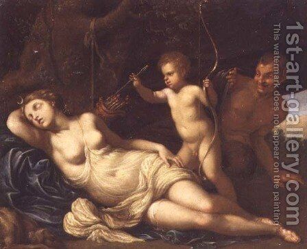 The sleeping Diana surprised by Cupid and a Satyr by Giovanni Gioseffo da Sole - Reproduction Oil Painting