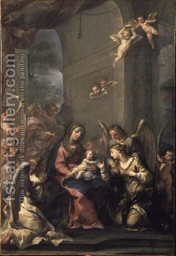 Mystic Marriage of St. Catherine, 1716 by Giovanni Gioseffo da Sole - Reproduction Oil Painting