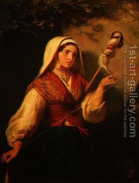 Young Woman Spinning Wool by Abraham Solomon - Reproduction Oil Painting