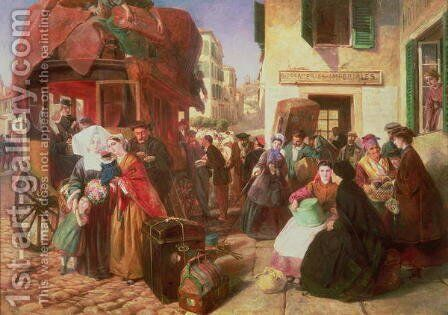 The Departure of a Diligence from Biarritz, 1862 by Abraham Solomon - Reproduction Oil Painting