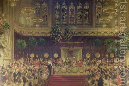 Coronation Luncheon for King George V and Queen Mary in Guildhall, 29th June 1911, 1914-22 by Solomon J Solomon - Reproduction Oil Painting