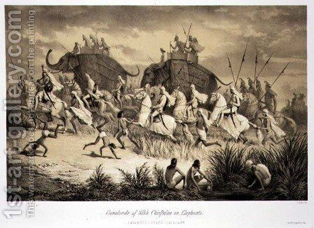 Cavalcade of Sikh Chieftains on Elephants, from 'Voyage in India', engraved by Louis Henri de Rudder 1807-81 pub. in London, 1858 by (after) Soltykoff, A. - Reproduction Oil Painting