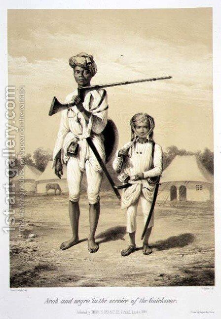 Arab and Negro in the Service of the Guickwar, from 'Voyage in India', engraved by Louis Henri de Rudder 1807-81 pub. in London, 1858 by (after) Soltykoff, A. - Reproduction Oil Painting