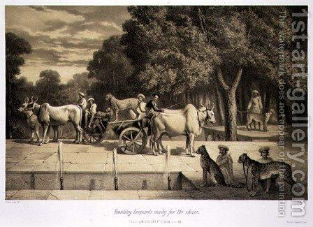 Hunting Leopards Ready for the Chase, from Voyage in India, engraved by Louis Henri de Rudder 1807-81 pub. in London, 1858 by (after) Soltykoff, A. - Reproduction Oil Painting
