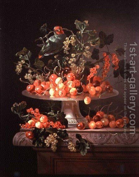 A Still Life of Cherries and Currants with a Parrot by Jan Frans van Son - Reproduction Oil Painting