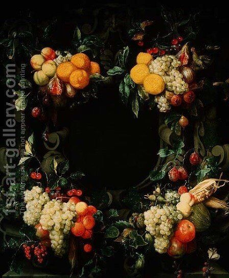 Garland of fruit around an empty niche by Jan Frans van Son - Reproduction Oil Painting