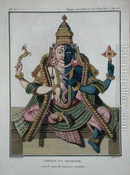Hari-Hara, from Voyage aux Indes et a la Chin by Pierre Sonnerat, engraved by Poisson, published 1782 by (after) Sonnerat, Pierre - Reproduction Oil Painting
