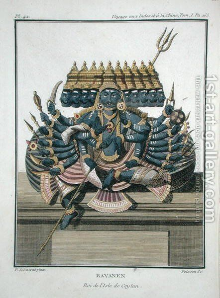 Ravana, demon king of Ceylon, from Voyage aux Indes et a la Chine by Pierre Sonnerat, engraved by Poisson, published 1782 by (after) Sonnerat, Pierre - Reproduction Oil Painting