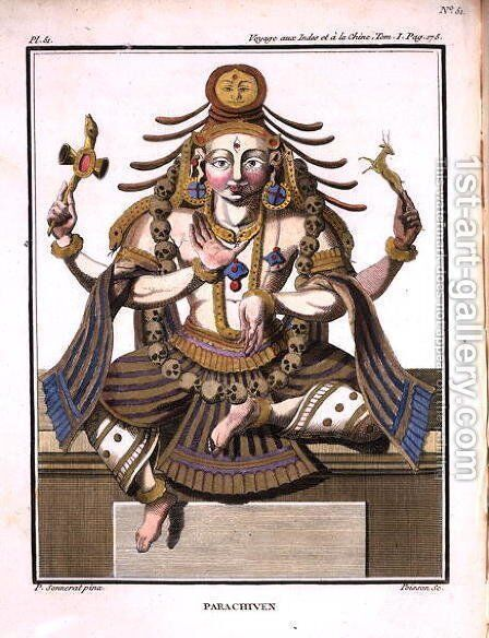 An aspect of Shiva, from Voyage aux Indes et a la Chine by Pierre Sonnerat, engraved by Poisson, published 1782 by (after) Sonnerat, Pierre - Reproduction Oil Painting