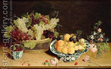 Still Life of Fruit and Flowers by Jan Soreau - Reproduction Oil Painting
