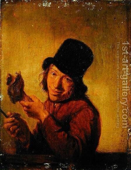 The Ham Eater by Hendrick Maertensz. Sorch (see Sorgh) - Reproduction Oil Painting