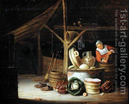 Kitchen Interior by Hendrick Maertensz. Sorch (see Sorgh) - Reproduction Oil Painting