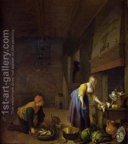 A kitchen with a kitchenmaid preparing poultry and a fishmonger delivering fish by Hendrick Maertensz. Sorch (see Sorgh) - Reproduction Oil Painting