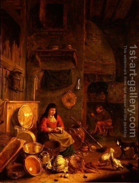 A Kitchen Interior with a Woman Peeling Potatoes beside a Dog, a Man Smoking in front of a Fire beyond by Hendrick Maertensz. Sorch (see Sorgh) - Reproduction Oil Painting