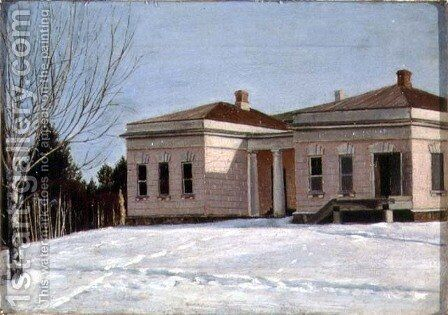 A Wing of Ostrovky, the Estate of N.P. Milyukov, early 1840s by Grigori Vasilievich Soroka - Reproduction Oil Painting