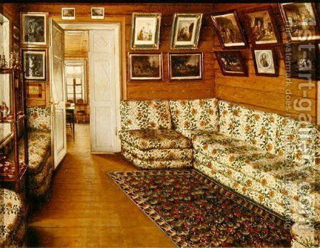 Reception room of a Manor house by Grigori Vasilievich Soroka - Reproduction Oil Painting