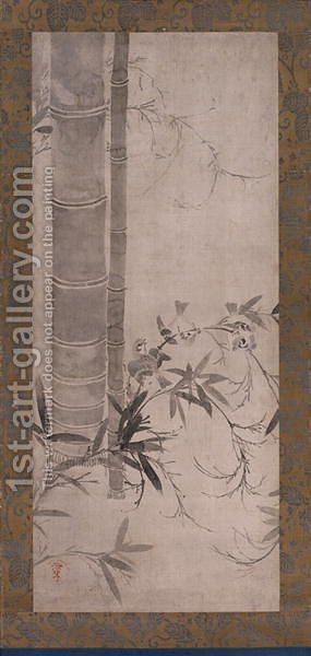 Sparrows and Bamboo, one of a pair of hanging scrolls, Edo period by Anonymous Artist - Reproduction Oil Painting