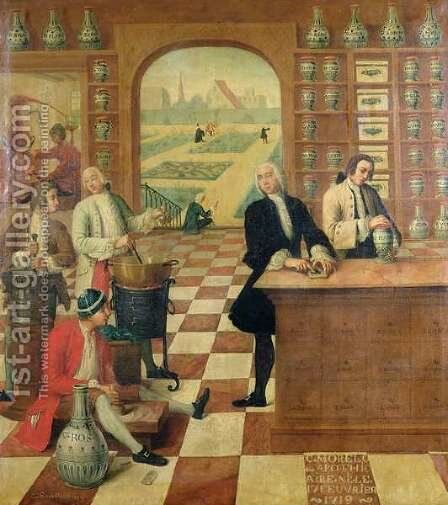 The Apothecary C. Morelot b.17 February 1719 in his pharmacy, 175 by C. Souville - Reproduction Oil Painting