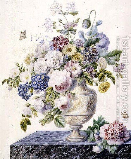 A marble vase of mixed flowers on a marble shelf, c.1800 by Cornelis van Spaendonck - Reproduction Oil Painting