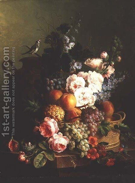 Still Life of Fruits and Flowers in a Wicker Basket on a Ledge. by Cornelis van Spaendonck - Reproduction Oil Painting