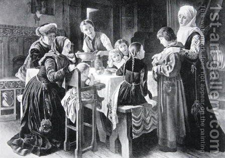The boyhood of Martin Luther, illustration from The History of the Nation by Gustav Adolph Spangenberg - Reproduction Oil Painting