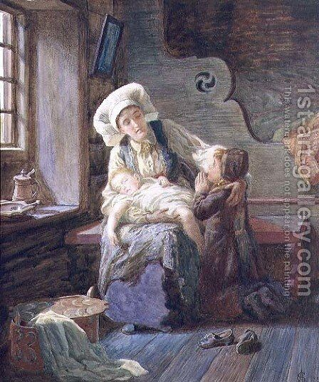 Evening in a Norwegian Home, 1882 by Catharine Adelaide Sparkes - Reproduction Oil Painting
