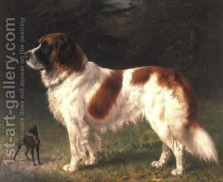 A St. Bernard and a Miniature Pincher by Heinrich Sperling - Reproduction Oil Painting