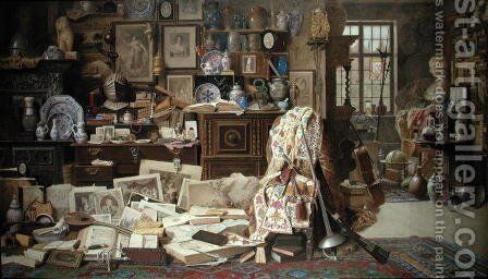 Armour, Prints, Pictures, Pipes, China All Crackd Old Rickety Tables, and Chairs Broken Backd, 1882 by Benjamin Walter Spiers - Reproduction Oil Painting