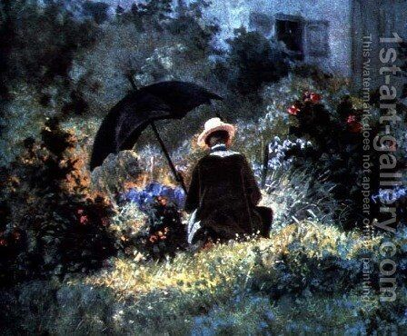 Detail of a Gentleman reading in a garden by Carl Spitzweg - Reproduction Oil Painting