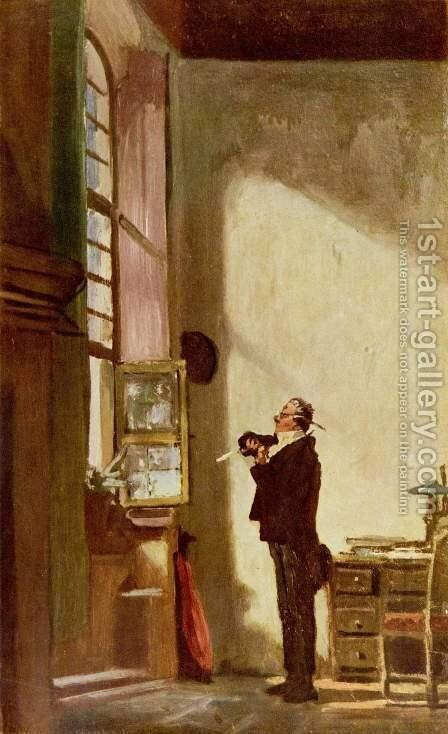 The Writer by Carl Spitzweg - Reproduction Oil Painting
