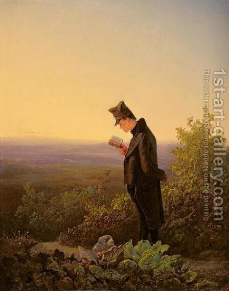 Reading the Breviary, The Evening by Carl Spitzweg - Reproduction Oil Painting