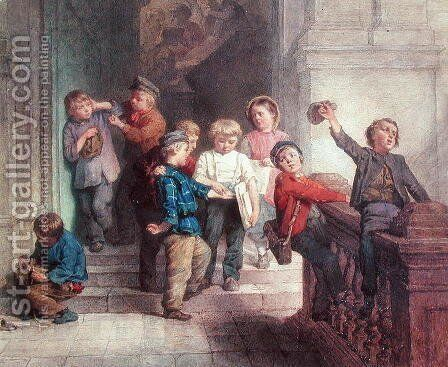 Playing Outside the School Room by Jacob Spoel - Reproduction Oil Painting