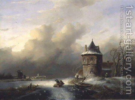 A Couple Crossing the Ice in Windy Weather by Jan Jacob Spohler - Reproduction Oil Painting