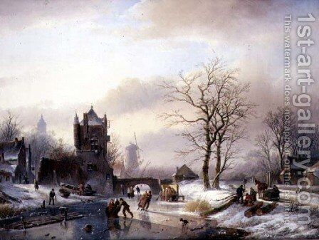 Skaters on a Frozen River by Jan Jacob Spohler - Reproduction Oil Painting