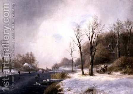 Faggot Gatherers and Skaters in a Winter Landscape, 1835 by Jan Jacob Spohler - Reproduction Oil Painting