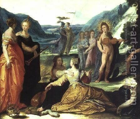 Apollo, Pallas and the Muses by Bartholomaeus Spranger - Reproduction Oil Painting