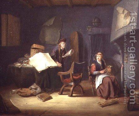 Interior with a scholar and an old lady spinning by Jacob van Spreeuwen - Reproduction Oil Painting