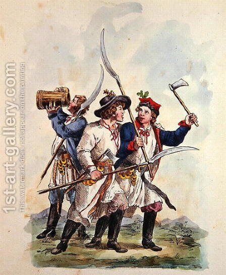Costumes of the Polish Army after 1700 3 by Michal Stachowicz - Reproduction Oil Painting