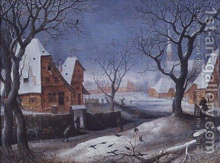 Winter Landscape with Fowlers by Adriaen van Stalbempt - Reproduction Oil Painting