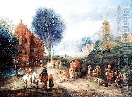 Country Scene by Adriaen van Stalbempt - Reproduction Oil Painting