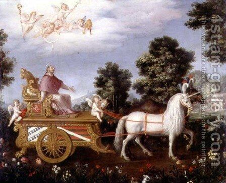 St Carlo Borremeo 1538-84 enthroned on a triumphal chariot by Adriaen van Stalbempt - Reproduction Oil Painting