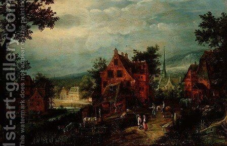 Village Landscape with Peasants by Adriaen van Stalbempt - Reproduction Oil Painting
