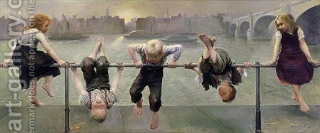 Street Arabs at Play, 1890 by Dorothy, nee Tennant Stanley - Reproduction Oil Painting